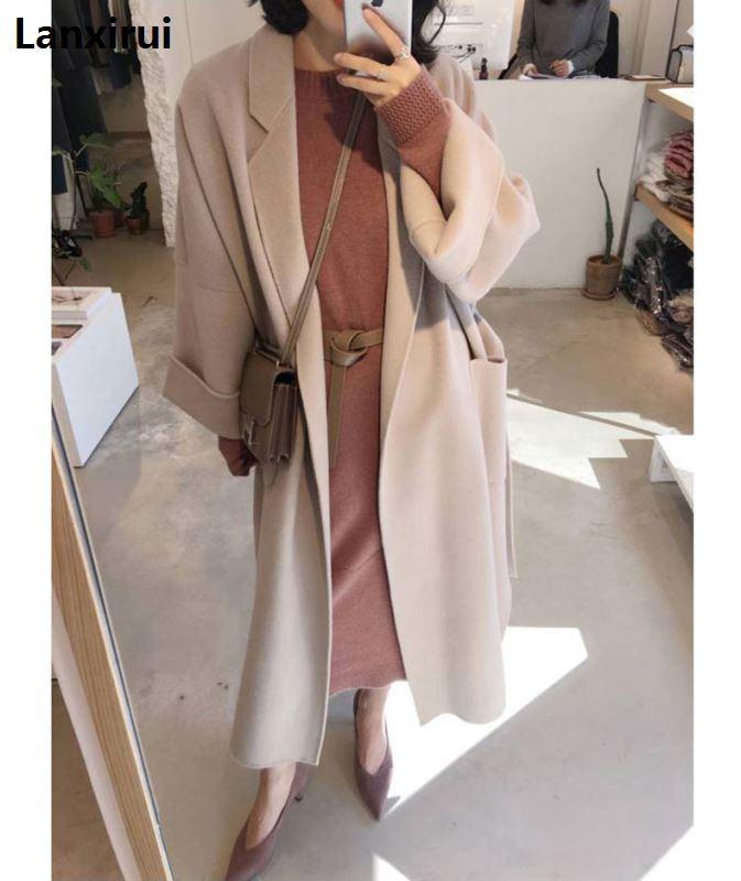 New  Spring Autumn Women Jacket Long Coats Female Blends Woolen Warm Overcoat  Ladies Fashion Casual Coats AC345