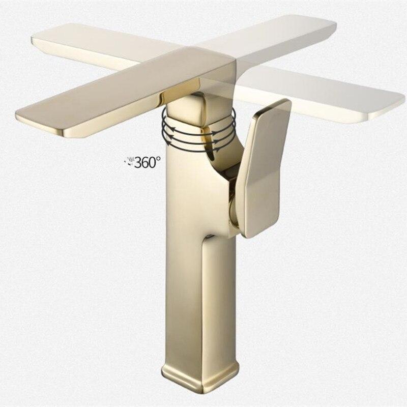 Блестящий золотой кран для раковины, Роскошный водопад, смеситель для раковины, Золотой смеситель для раковины, скандинавский Черный кран для ванной комнаты, высокий кран - 2