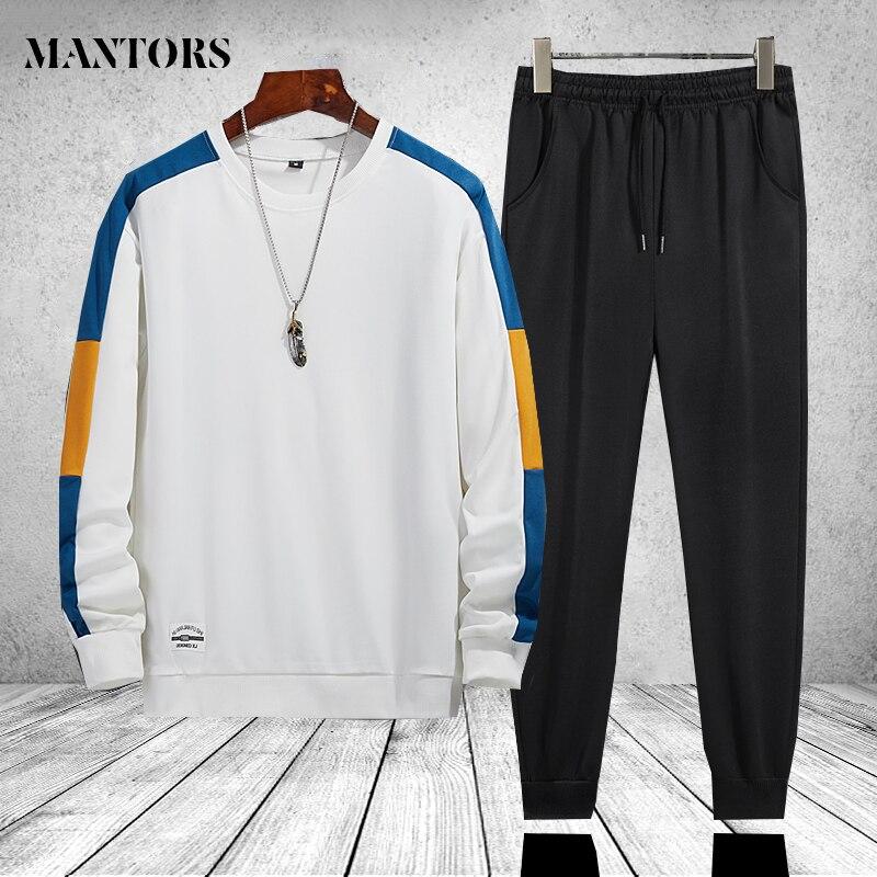 Брендовые мужские повседневные комплекты в стиле пэчворк с длинными рукавами на весну-осень мужские толстовки с капюшоном + брюки для девоч...
