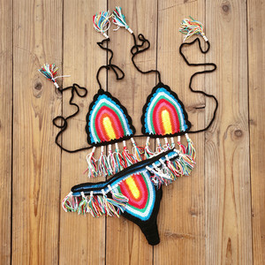 Image 4 - Handmade Crochet Bikini Set Rainbows Rasta Tassel Women Swimwear Push UP Sexy Swimsuit Vacation