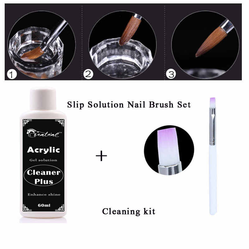 Beateal Acryl Poly Gel Nail Liquid Set Vernis Slip Oplossing Geurloos Alcohol Substituten Polygel Nail Gereedschap Kit Nagellak