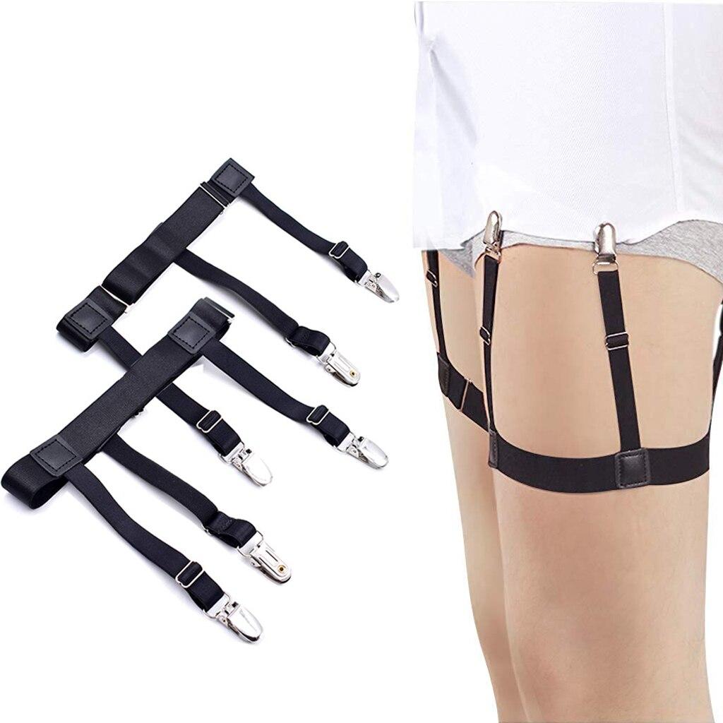 Mens Shirt Stays Garters Elastic Adjustable Leg Suspenders Shirt Holders Straps Belt Non-slip Locking Clamps 2pcs Black
