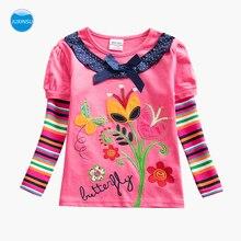 JUXINSU Girls Cotton Long Sleeve T-shirt Stripe sleeve Flower Embroidery Autumn Winter Girl Casual tshirt 1-6 Years