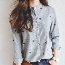 Spring Autumn Shirt Leaves Embroidery Women Tops Striped Blusas femininas Long S
