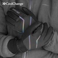 CoolChange Bicycle Gloves Winter Thermal Waterproof Bike Gloves Long Finger Touch Screen Wrist Buckle Cycling Gloves Men Women