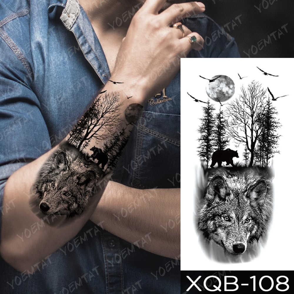 Tatuagem adesiva temporária, à prova d' água, arte corporal de braço, masculina, voadora, urso, pássaro, leopardo, lobo, tigre