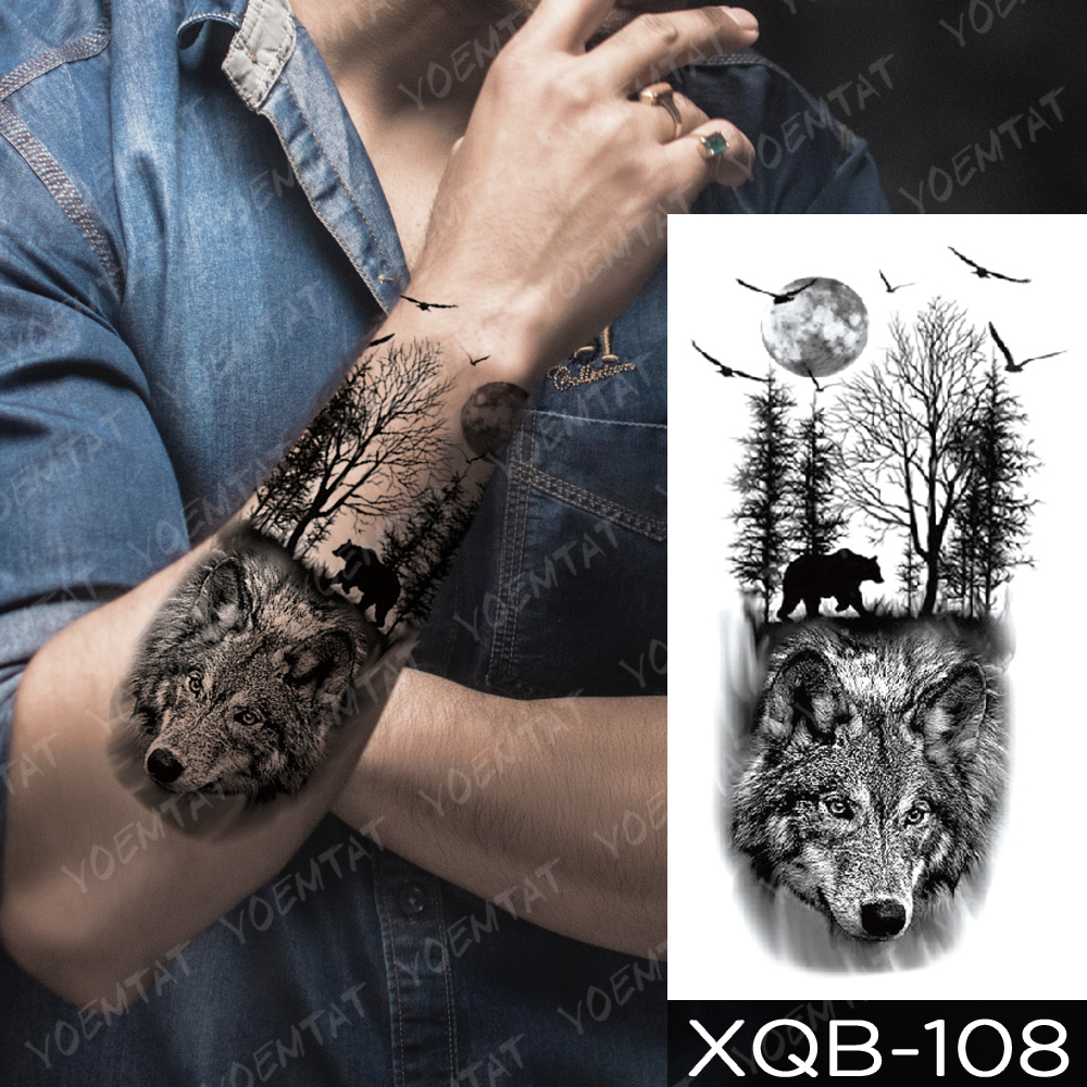 Waterproof Temporary Tattoo Sticker  Forest Moon Flying Bird Bear Flash Tattoos Leopard Wolf Tiger Body Art Arm Fake Tatoo Men 1