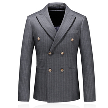 fashion autumn striped double breasted wool business blazer for men 2019 new men blazer printed plus size 5xl недорого