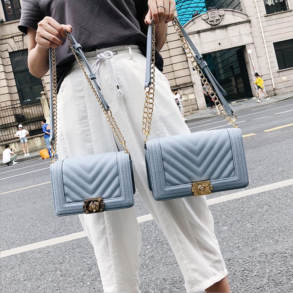 Women Diamond Lattice PU Leather Bag Messenger Bag Female Crossbody Bag Women Totes Bag Clutch Shoulder Bag Chain Handbag Clutch