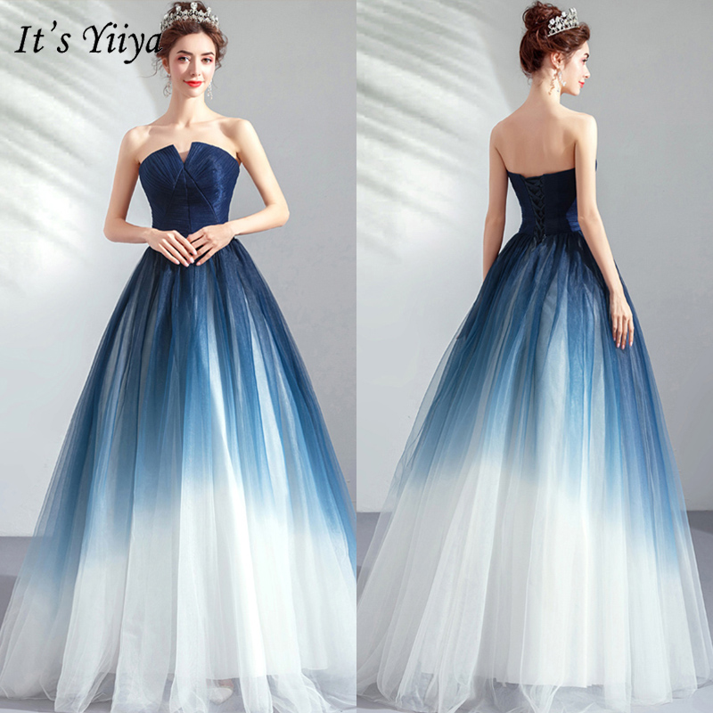 It's YiiYa Prom Gown 2019 Blue Sleeveless Floor Length Long Party Dress Elegant Strapless Vestidos De Gala Custom Plus Size E263