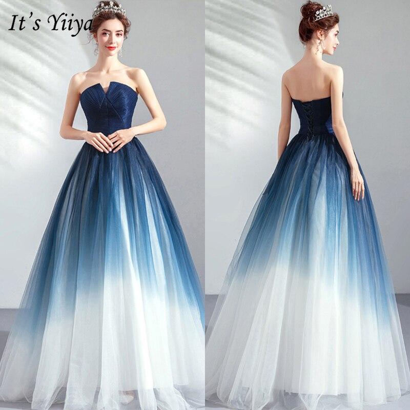 It's YiiYa Prom Gown 2019 Blue Sleeveless Floor Length Long Party Dress Elegant Strapless Vestidos De Gala Custom Plus Size E263