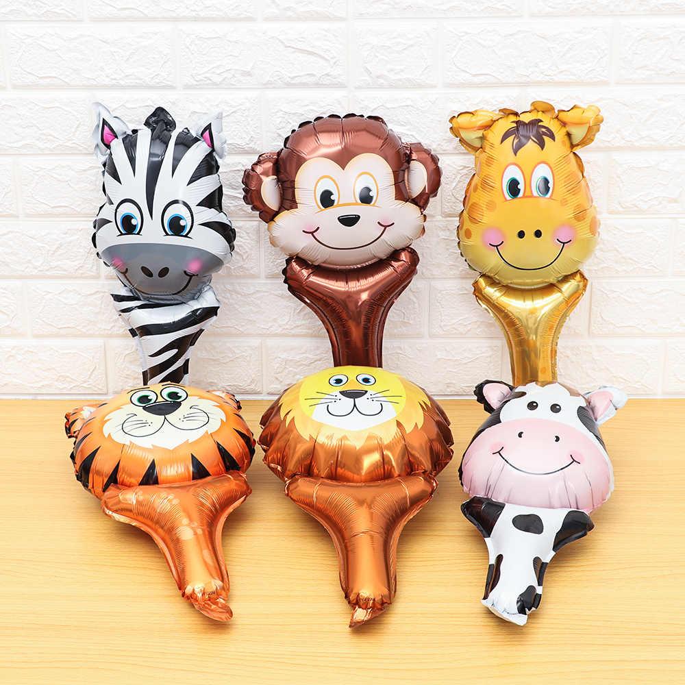 1 Pcs Animal Hoofd Folie Ballonnen Zoo Handheld Opblaasbare Lucht Ballon Kinderen Geschenken Baby Shower Gelukkig Birthday Party Decoraties