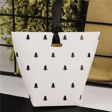 50pcs/lot New  Kraft box  Black Tree White Pillow Box  Ribbon Bow Present Carton Gift DIY Boxes Pouch Wedding Party Supply