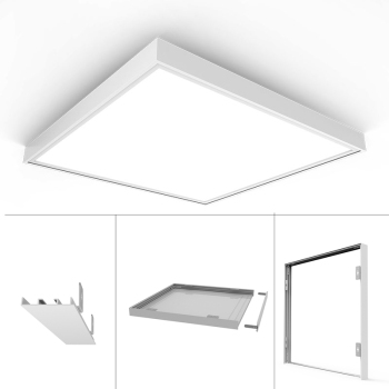 New Update Aluminum Surface Mounting LED Panel Frame for All 300x300 600x600 620x620MM Ceiling Panel Lights White Body image