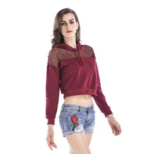 Women Long Sleeve Shirt Hollow Tops Short Pullover T-Shirt Tees Autumn O-neck Casual Red Hooded Female T shirt