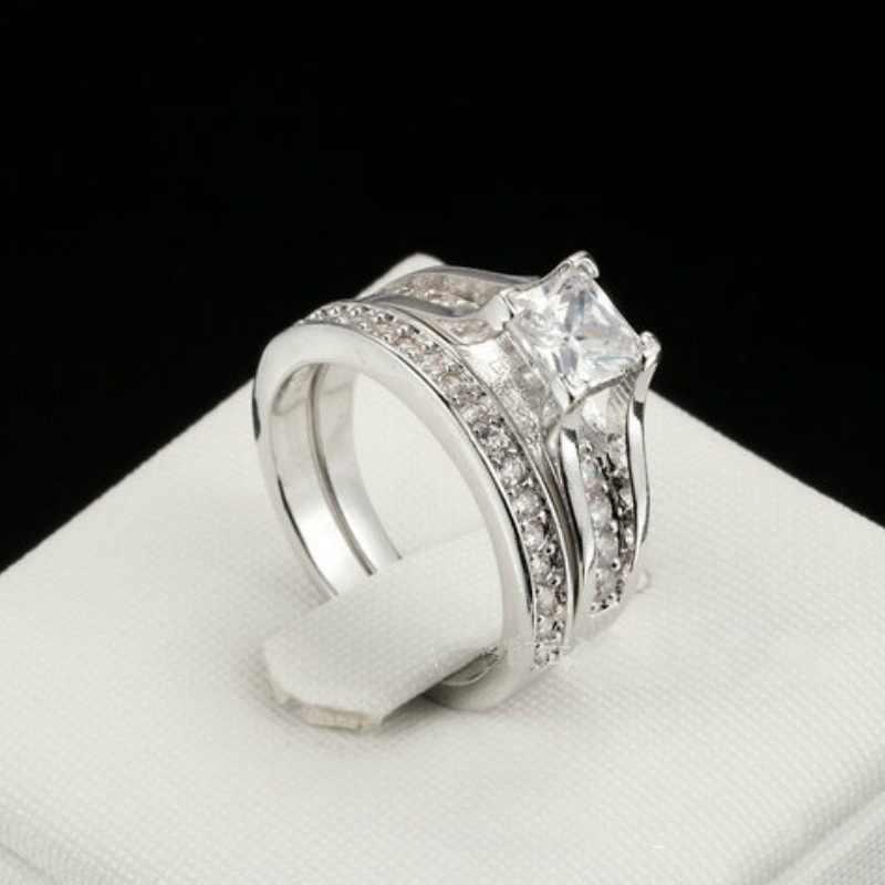 Anillo de compromiso de circonita blanca con corte de princesa conjunto de anillos de Color plata de piedra CZ para mujer hombre Boda nupcial doble anillos