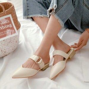 Image 3 - Sianie Tianie 2020 קיץ כיכר נמוך עקבים מחודדת הבוהן צהוב אבזם אישה חיצוני נעלי גבירותיי נעלי נשים פרדות גודל 46 48