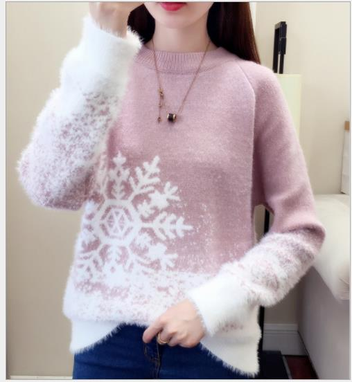 Print Snowflake Christmas Sweater Pullovers Women Autumn Spring Knitted Tops Jumper Female Short Cashmere Plush 2020 Swater H311