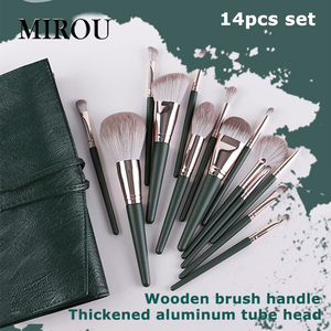 14 pcs green makeup brushes hi