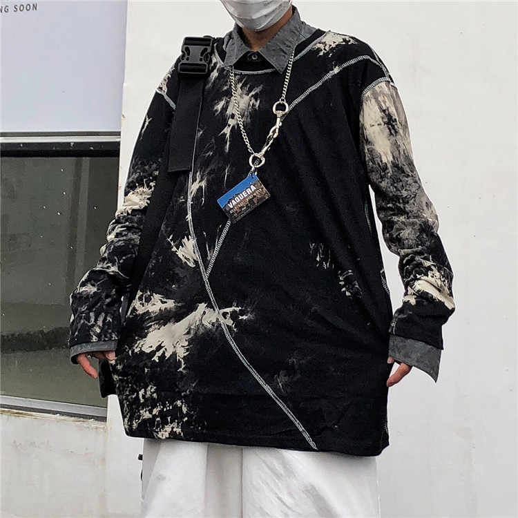 Japanese Vintage Hip Hop Tie Dye Print Striped Long Sleeve Graphic T Shirt T-Shirt Top Harajuku Streetwear Korean Punk Pullover