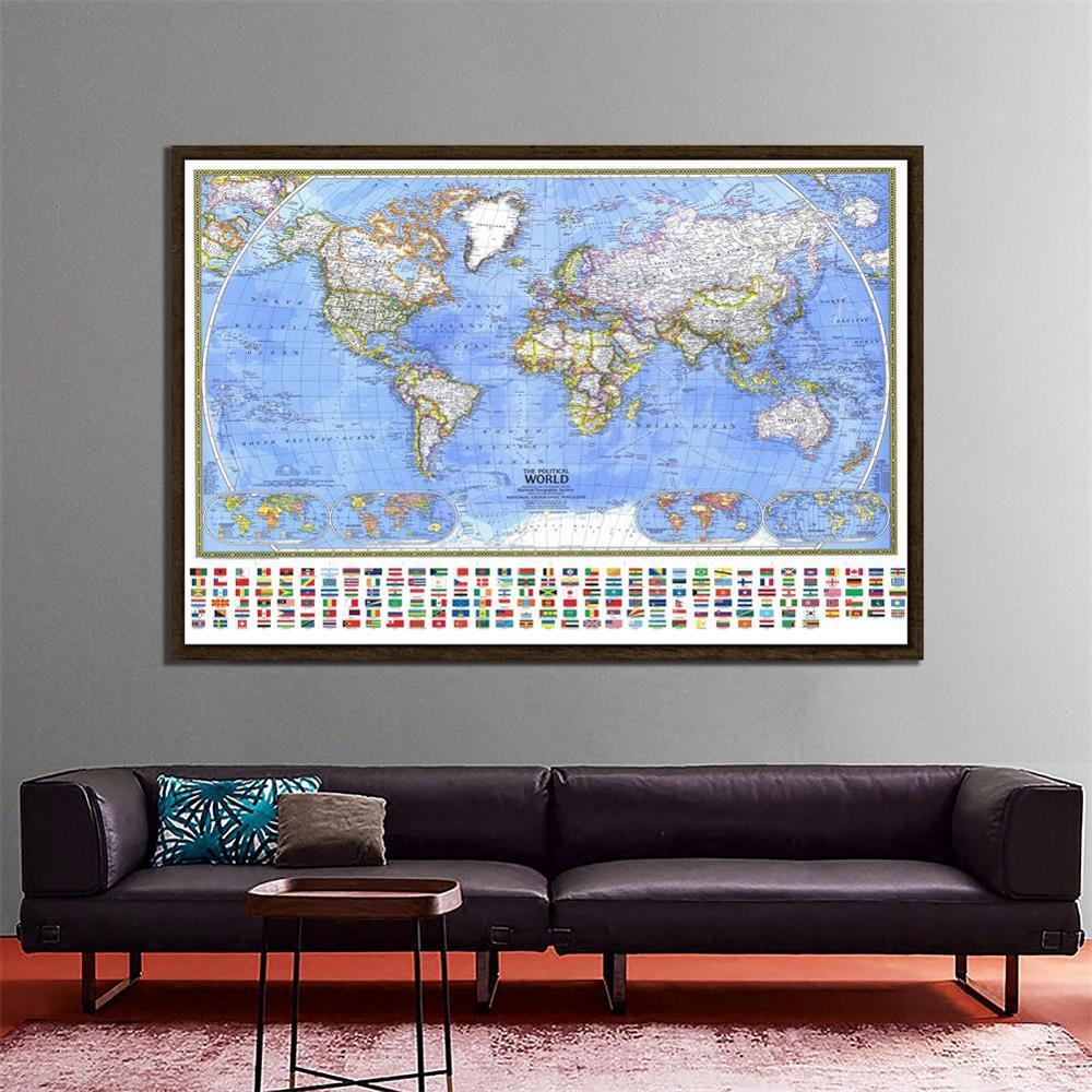 The Political World Map With National Flag For Education And Culture 150x100cm Waterproof Non-woven World Map