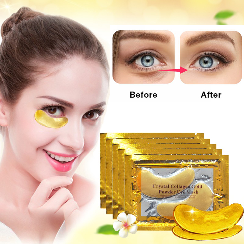 2/6PCS 24K Gold Crystal Collagen Eye Mask Eye Patches For Acne Eye Care Dark Circles Remove Anti-Aging Wrinkle Skin Care TSLM2