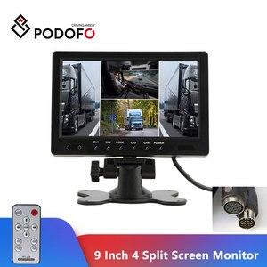 "Image 1 - Podofo 9 ""TFT LCD פיצול מסך Quad צג טלוויזיה במעגל סגור אבטחת מעקב משענת ראש צג אחורי 4 RCA מחברים וידאו תצוגה"
