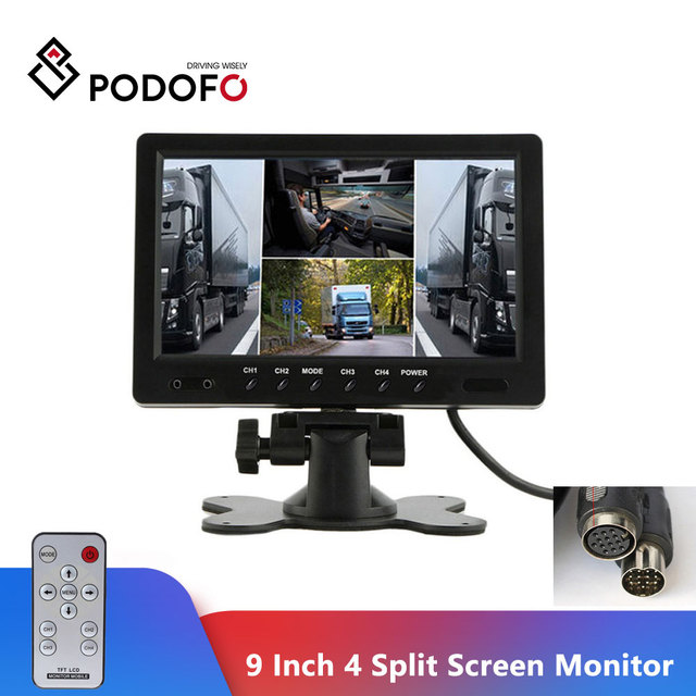 "Podofo 9 ""TFT LCD פיצול מסך Quad צג טלוויזיה במעגל סגור אבטחת מעקב משענת ראש צג אחורי 4 RCA מחברים וידאו תצוגה"