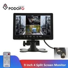 """Podofo 9 """"tft lcd tela dividida quad monitor de vigilância segurança cctv encosto cabeça vista traseira monitor 4 conectores rca exibição vídeo"""