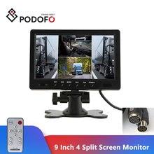 Видеомонитор Podofo, TFT ЖК дисплей 9 дюймов, Раздельный экран, четырехъядерный, для системы видеонаблюдения на подголовник, с 4 разъемами RCA