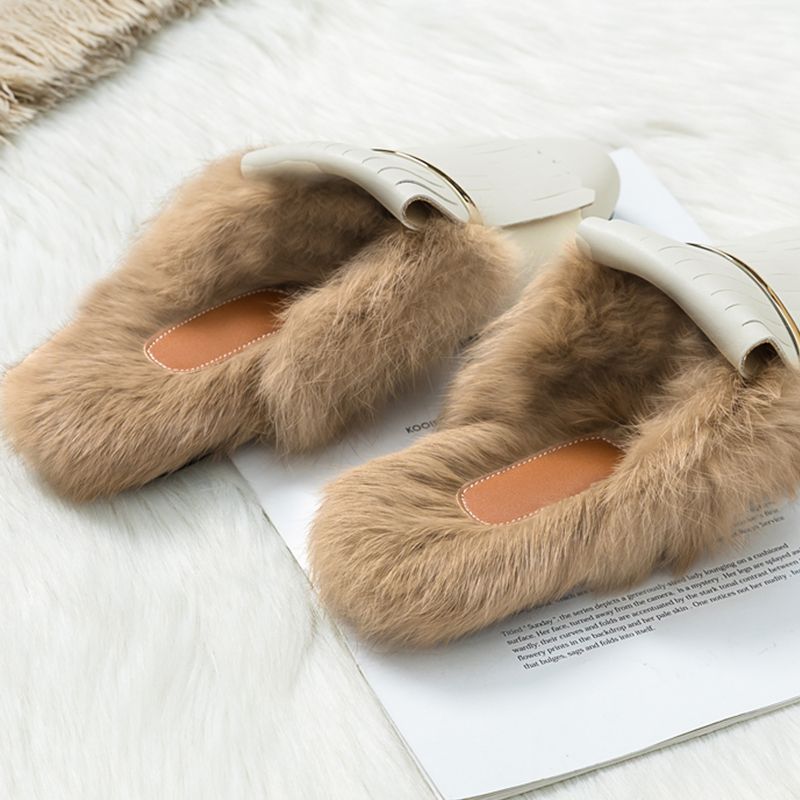 Outdoor Rabbit Hair Women Slippers Shoes 2020 New Loafers Baotou Flat Ban Tuo Xie Women's Casual Shoes Plush Slippers Women's