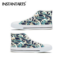 INSTANTARTS High Top Vulcanized Casual Canvas Women's Shoes Surfwave Pattern Brand Designer Flats Shoes Sneakers Calzado Mujer