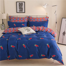 Thumbedding Cute Carrot Bedding Set King Size Fashionable British Style Duvet Cover Royal Blue Queen Full Twin Single Bed Set(China)