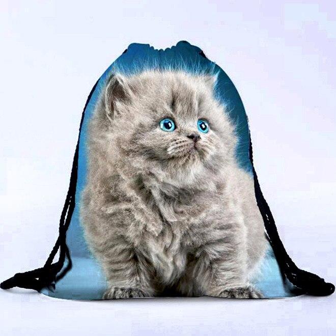 Unisex Cat 3D Printing Bags Drawstring Exquisite Girls Original Portable Drawstring Bag Elegant Lady Fashion Convenient Bags