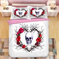 3D Skull Skeleton 3D Print Bedding Set Duvet Covers Pillowcases One Piece Comforter Bedding Sets Bedclothes Bed Linen