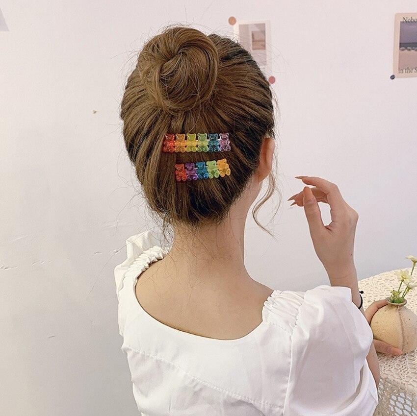 6 Candy Bears Hair Clips Barrettes Colored Bear Hairpin Women Girls Hairgrips Pins Hair Band Acccessories Hair Pins 5