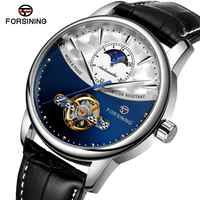 Forsining clássico azul fase da lua relógios mecânicos turbilhão automático relógio de couro genuíno masculino relogio masculino dropship