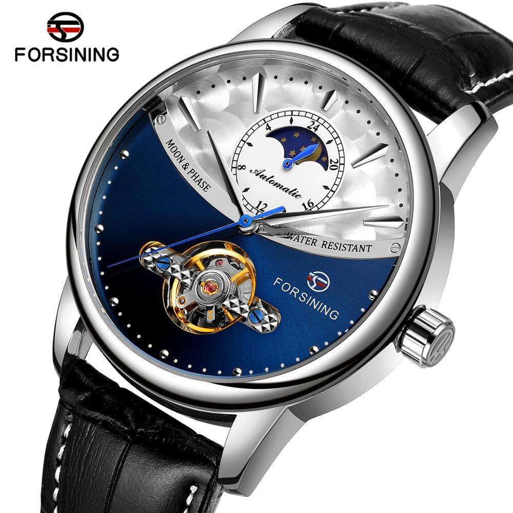Forsining classique bleu Phase de lune montres mécaniques Tourbillon automatique hommes montre en cuir véritable Relogio Masculino livraison directe