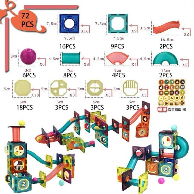 DIY Magnetic Building Blocks Toys Sets Magnet Maze Ball Tracks Blocks Magnetic Funnel Slide Blocks Educational