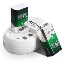 PALO 9 V nimh akku 6f22 300mah batterie mit 2 slots 9 V batterie ladegerät für 9 volt ni mh batteria