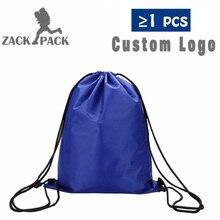 Custom Logo Drawstring Backpack Sports Waterproof Bag Cotton Printing Sack Female Students Polyester