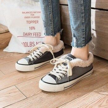 Zapatillas de mujer mocasines de plataforma plana vulcanizan los zapatos de lona...