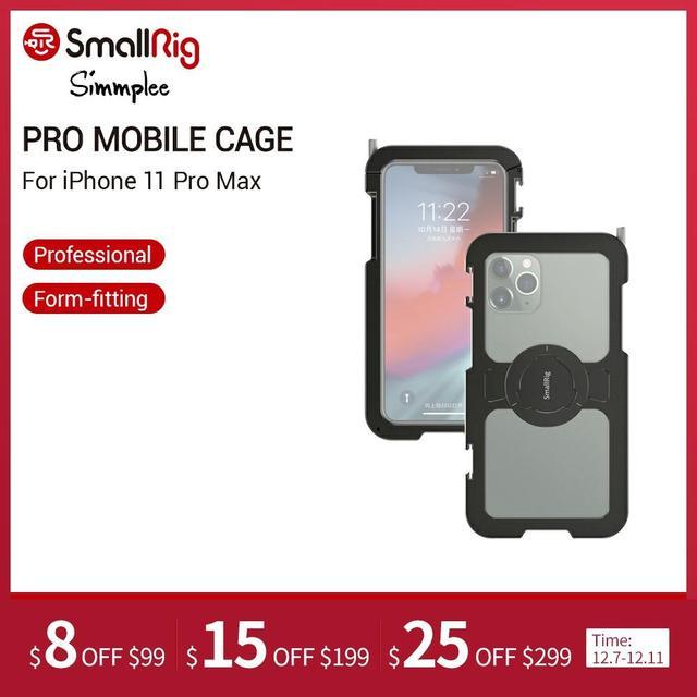 """Smallrig Pro Mobiele Kooi Voor Iphone 11 Pro Max Nauwsluitend Beschermende Kooi Met 1/4 """" 20 Schroefdraad gaten/Koud Schoen Mount   2512"""