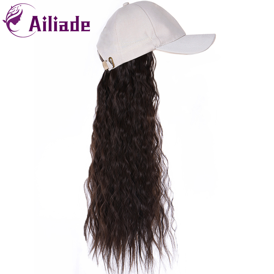AILIADE Adjustable Women Baseball Cap With Long Straight/Wavy Fake Hair Hat Wig Synthetic Hair Extensions Black Brown Cap Wig