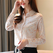 Blusas mujer de moda 2019 ladies tops chiffon blouse shirt for women long sleeve button womens and blouses print 0177