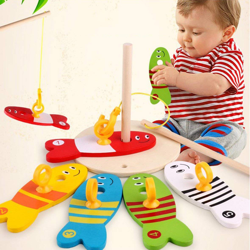 8Pcs/Set Colorful Wooden Fishing Digital Toys Baby Kids Fish Set Column Blocks Game Children Cute Early Educational Cartoon Toy