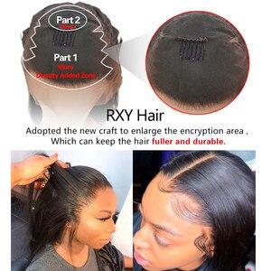 Image 5 - RXY Bob peruka peruwiańskie włosy remy prosto 13x6 wolna część krótki Bob koronki przodu włosów ludzkich peruk dla kobiet wstępnie oskubane z dzieckiem włosy
