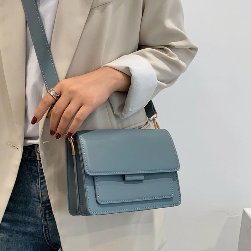 Solid Color PU Leather Crossbody Bags for Women 2021 Luxury Quality Shoulder Simple Bag Female Handbags and Purses