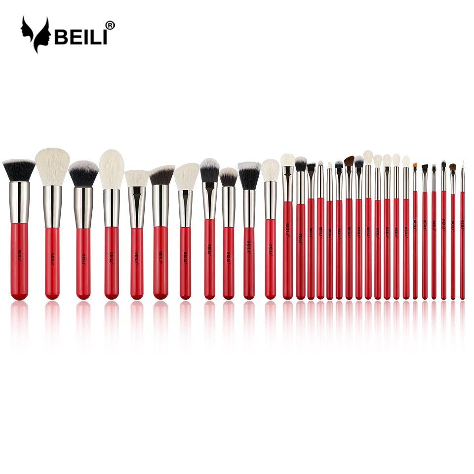 BEILI Red 30 шт. набор профессиональных кистей для макияжа, натуральные волосы, пудра, Тональная основа, румяна, тени для век, подводка для бровей, Кисть для макияжа, инструмент