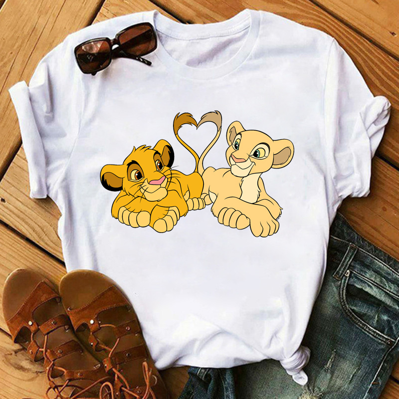 New Lovely Lion King <font><b>Women</b></font> Tshirts Cartoon Printed Tees <font><b>Funny</b></font> Harajuku Female <font><b>T</b></font> <font><b>Shirt</b></font> Korean Short Sleeves Tops Female Clothing image